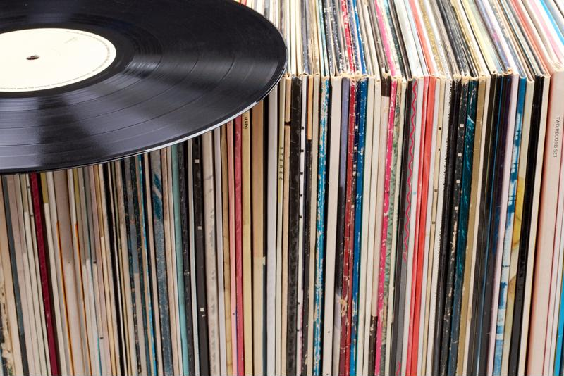 rows of old record jackets
