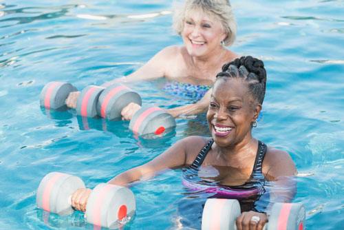 Women in a pool doing water aerobics together