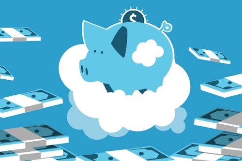 Piggy bank in the clouds surrounded by money