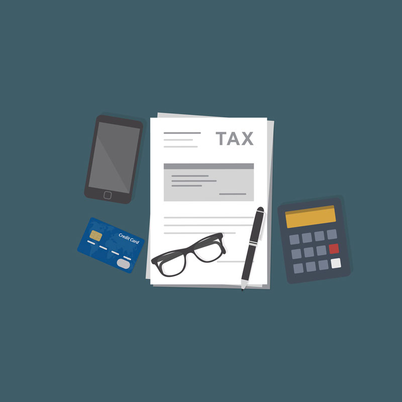 Clip art of tax papers, calculators, glasses, and pen